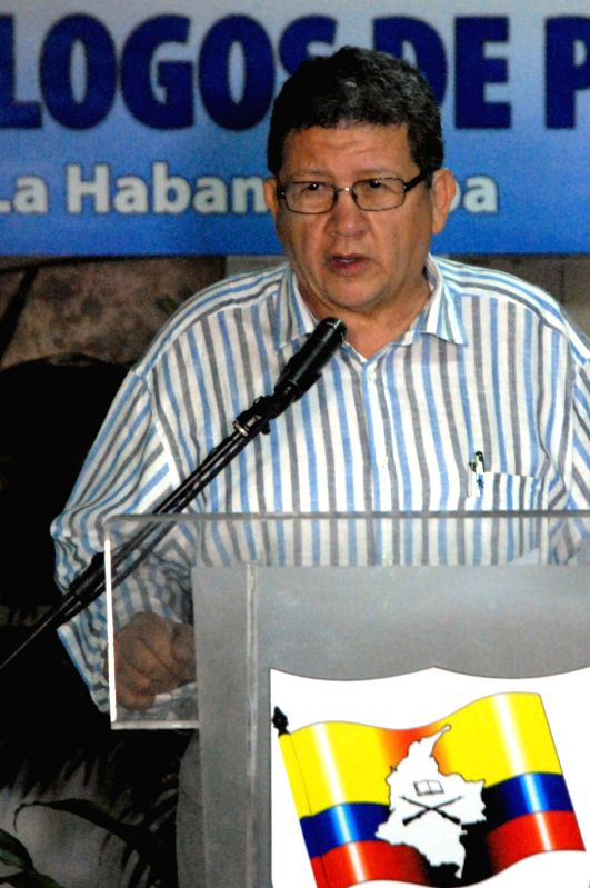 HAVANA, April 6, 2016 - Commander of the Revolutionary Armed Forces of Colombia (FARC) Pablo Catatumbo reads a statement prior to peace talks with the Colombian government, at the Convention Palace, ...