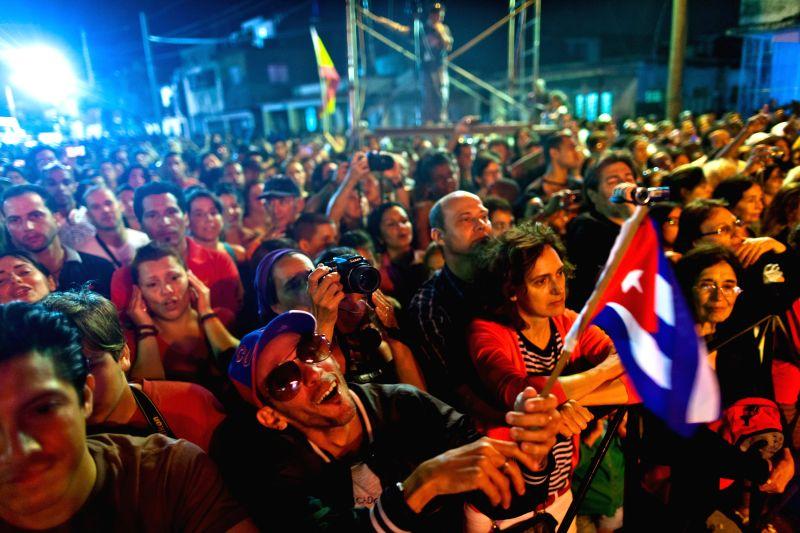 Cuban citizens enjoy an outdoor concert of Silvio Rodriguez in Havana, Cuba, Jan. 9, 2015. Rodriguez was considered Cuba's best folk singer. He had been referred to .