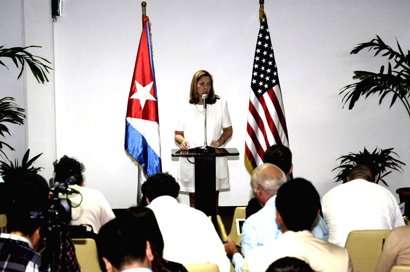 Josefina Vidal Ferreira, Director General for United States of Cuban Ministry of Foreign Affairs, speaks in a press conference on the issue of restoring diplomatic ..