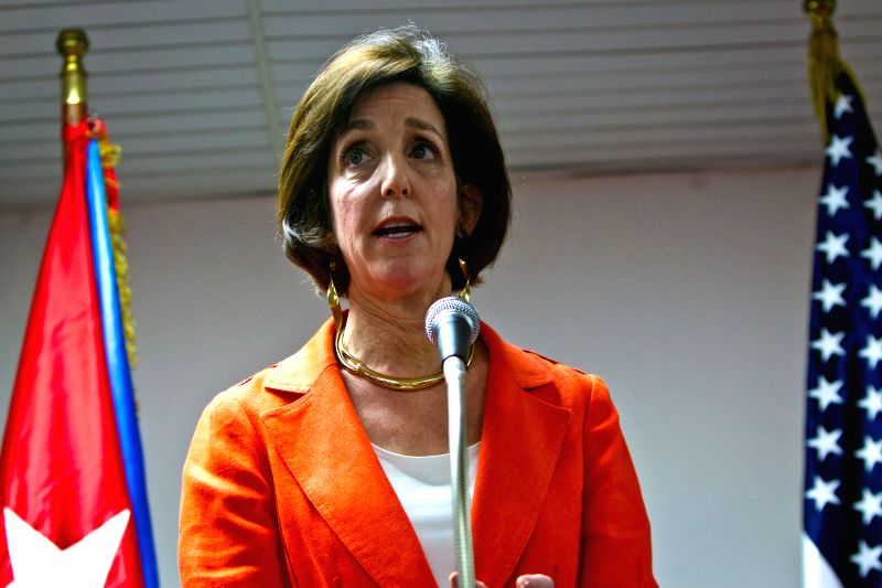 Roberta Jacobson, assistant secretary of State for Western Hemisphere Affairs of the United States, speaks at the press conference after the talks on the issue of ...