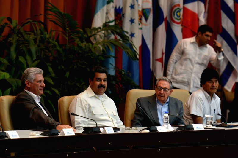 HAVANA, July 18, 2018 - (From L to R) Cuban President Miguel Diaz-Canel, Venezuelan President Nicolas Maduro, the first secretary of the Central Committee of the Communist Party of Cuba Raul Castro ...