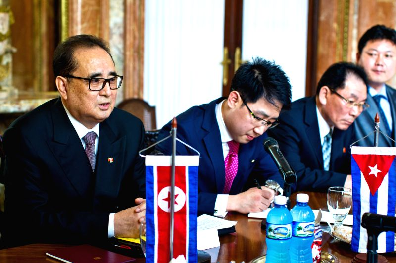 The Minister of Foreign Affairs of the Democratic People's Republic of Korea (DPRK) Ri Su-Yong (L), meets with Cuban Foreign Minister Bruno Rodriguez Parrilla, at ... - Bruno Rodriguez Parrilla