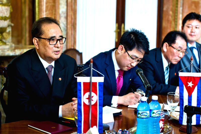 The Minister of Foreign Affairs of the Democratic People's Republic of Korea (DPRK) Ri Su-Yong (L) meets with Cuban Foreign Minister Bruno Rodriguez Parrilla (not ... - Bruno Rodriguez Parrilla