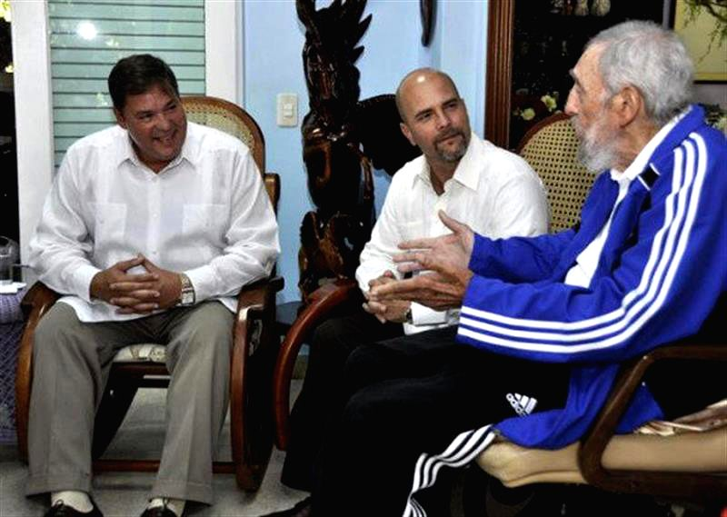 "Image taken on Feb. 28, 2015, released by ""Estudios Revolucion"" through ""Cubadebate"", shows the leader of Cuban Revolution Fidel Castro(R) ..."