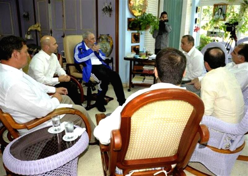 "Image taken on Feb. 28, 2015, released by ""Estudios Revolucion"" through ""Cubadebate"", shows the leader of Cuban Revolution Fidel Castro (C) ..."
