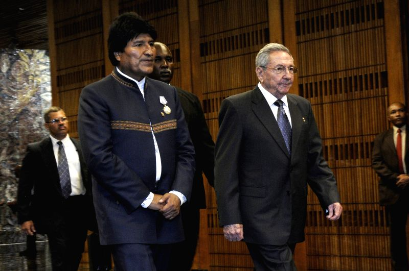 HAVANA, May 21, 2016 - Cuba's President Raul Castro (R, Front) and Bolivia's President Evo Morales (L, Front) meet in the Revolution Palace in Havana, Cuba, on May 20, 2016. Cuban leader Raul Castro ...