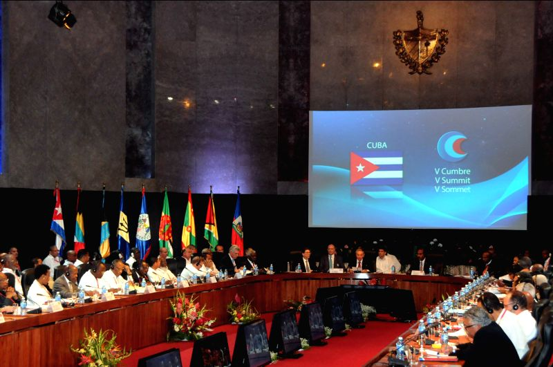 Representatives participate in the inauguration session of the 5th Summit of the Caribbean Community (CARICOM) and Cuba, held in the Revolution Palace in Havana, Cuba, on Dec. 8, 2014. Cuban .