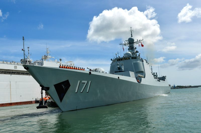 Photo taken on July 9, 2014 shows Chinese navy's destroyer Haikou leaving Pearl Harbor in Hawaii, the United States. The Chinese fleet participating in the Rim of ...