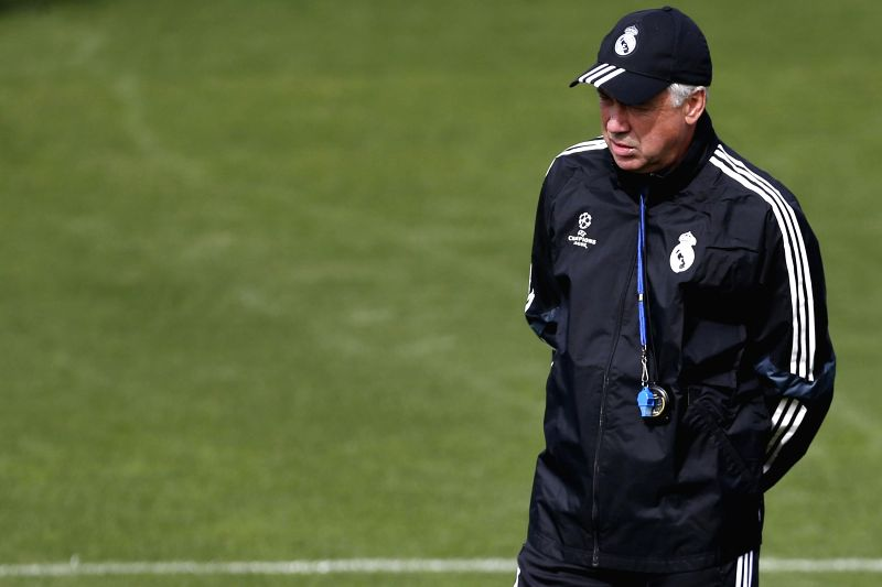 Head coach of Real Madrid, Italian Carlo Ancelotti, attends a training session held at the team's sports complex in Valdebebas, Madrid, Spain, 13 April 2015. Real Madrid will face Atletico Madrid in ...