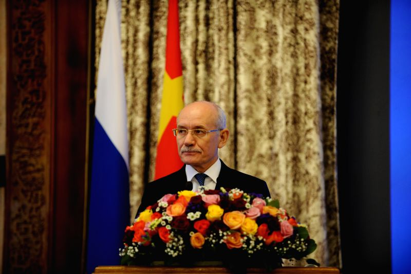 Head of Bashkortostan Rustem Khamitov speaks during a presentation of Bashkortostan to China in Moscow, Russia, on Nov. 30, 2015. A presentation of the Republic of ...