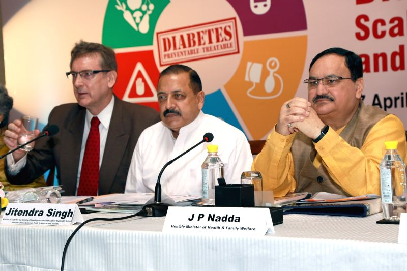 Health and Family Welfare,Union Minister J. P. Nadda,Union Minister for PMO  Dr Jitendra Singh and WHO representative to India Dr Henk Bekedam at an event to celebrate World Health Day, ... - J. P. Nadda and Jitendra Singh