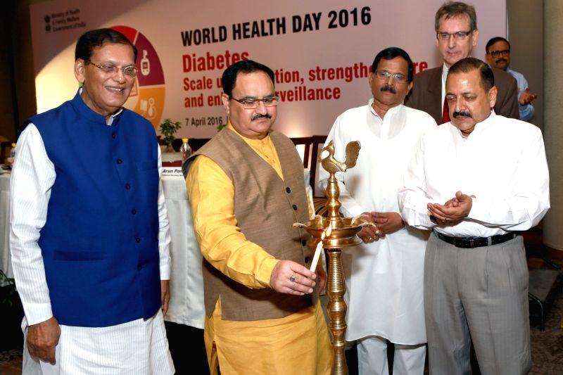 Health and Family Welfare,Union Minister J. P. Nadda,Union Minister for PMO  Dr Jitendra Singh,MOS Health, Shripad Yesso Naik and WHO representative to India Dr Henk Bekedam at an event ... - J. P. Nadda and Jitendra Singh