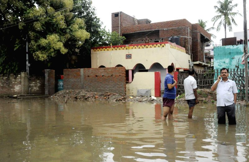 Heavy rain causes flooding in Patna on Aug. 16, 2014.