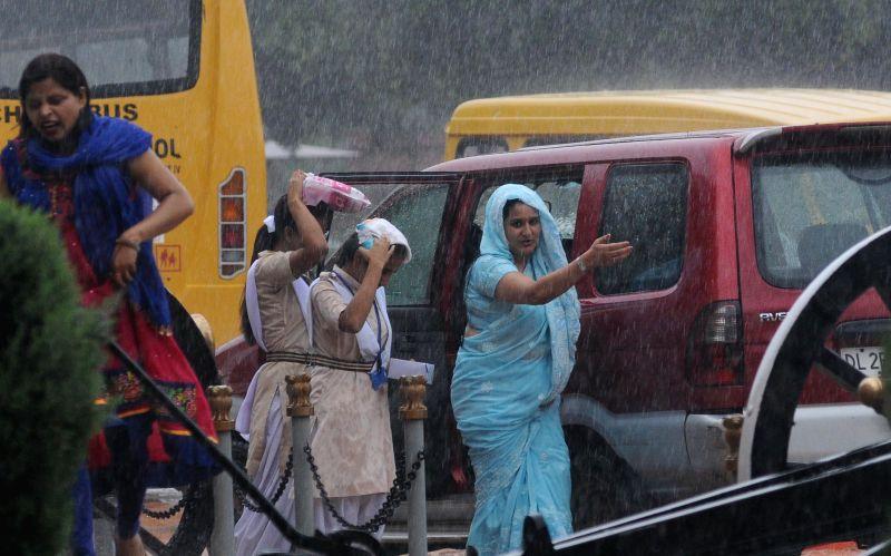Heavy rains in New Delhi on Aug 10, 2014.