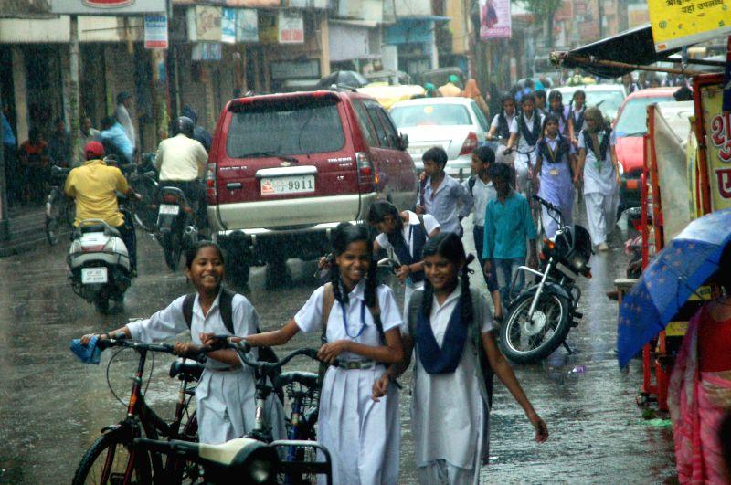 Heavy rains in Varanasi on July 5, 2014.