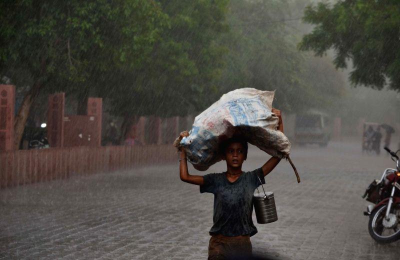 Heavy rains lash Agra on April 29, 2017.