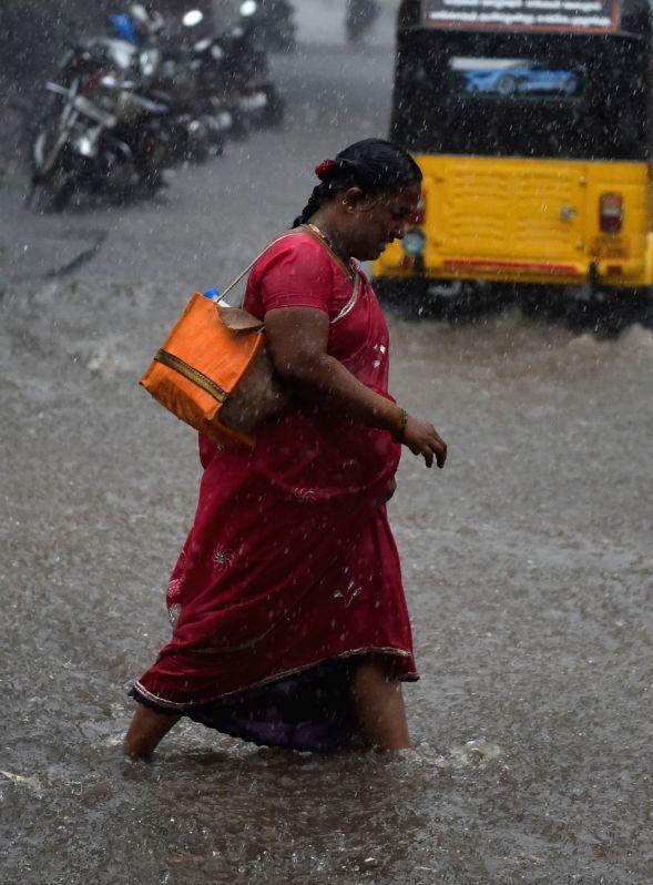 Heavy rains lash Chennai on Oct 31, 2015.