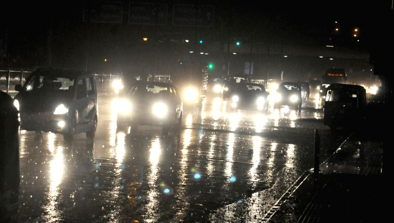 Heavy rains lashes New Delhi on May 23, 2016.