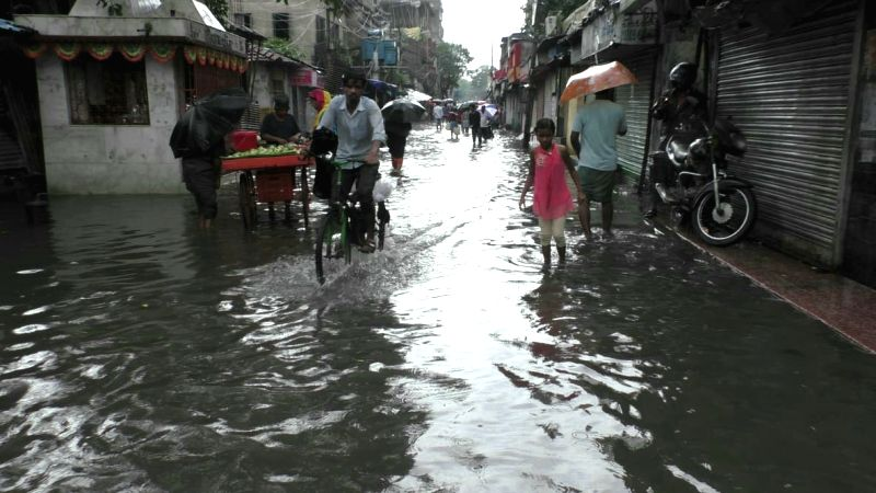 Heavy rains leave streets waterlogged, in Kolkata on July 26, 2018.