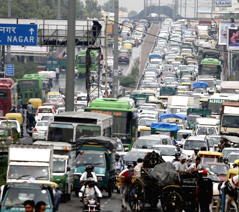 Heavy traffic jam at Patel Nagar of New Delhi after heavy rains on July 2, 2014.