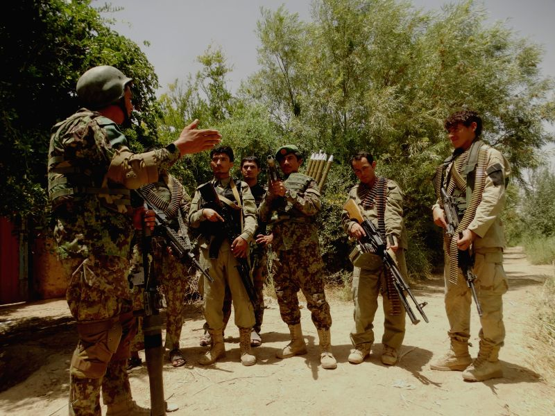 HELMAND, July 17, 2016 - Soldiers take part in a military operation in Nad Ali district of Helmand province, Afghanistan, July 17, 2016. Up to 20 Taliban militants were killed as aircraft targeted ...