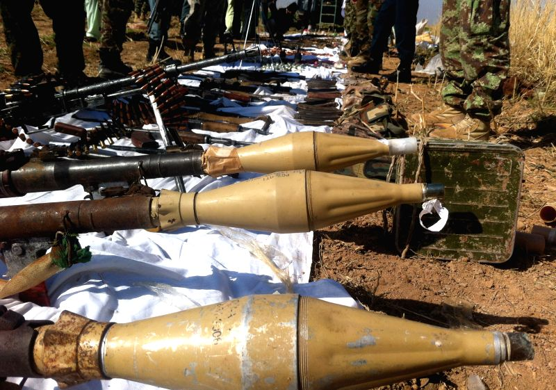 Captured ammunitions of Taliban militants are displayed by Afghan security forces in an operation in Helmand province in southern of Afghanistan, March 16, 2015. ...