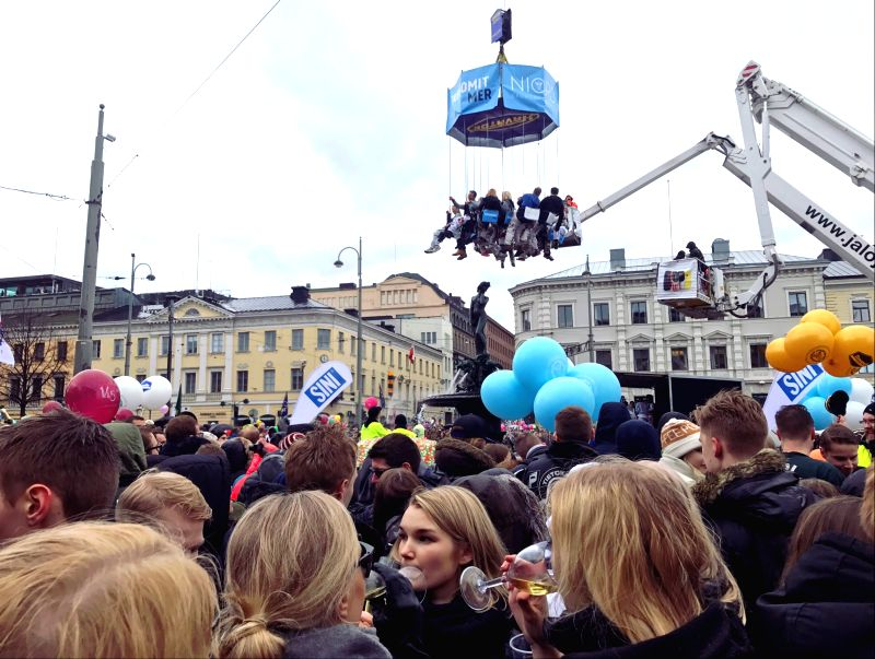 HELSINKI, April 30, 2017 - People gather at the Havis Amanda statue to celebrate the Walpurgis Day (Vappu), a carnival-style festival, in Helsinki, capital of Finland, on April 30, 2017.
