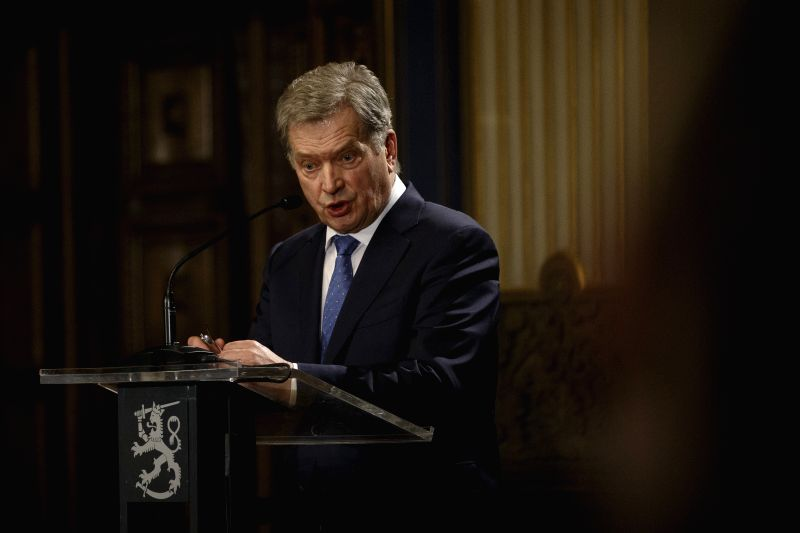 HELSINKI, Jan. 28, 2018 - Finnish incumbent President Sauli Niinisto speaks during a press conference after winning a landslide victory in the presidential election in Helsinki, Finland, on Jan. 28, ...