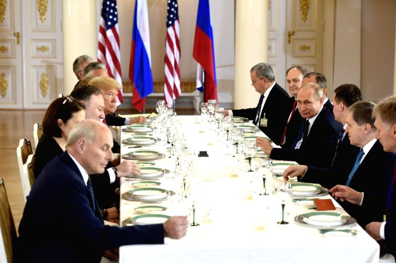 HELSINKI, July 16, 2018 - The U.S. and Russian delegations have working lunch in Helsinki, Finland, on July 16, 2018. U.S. President Donald Trump and his Russian counterpart Vladimir Putin started ...