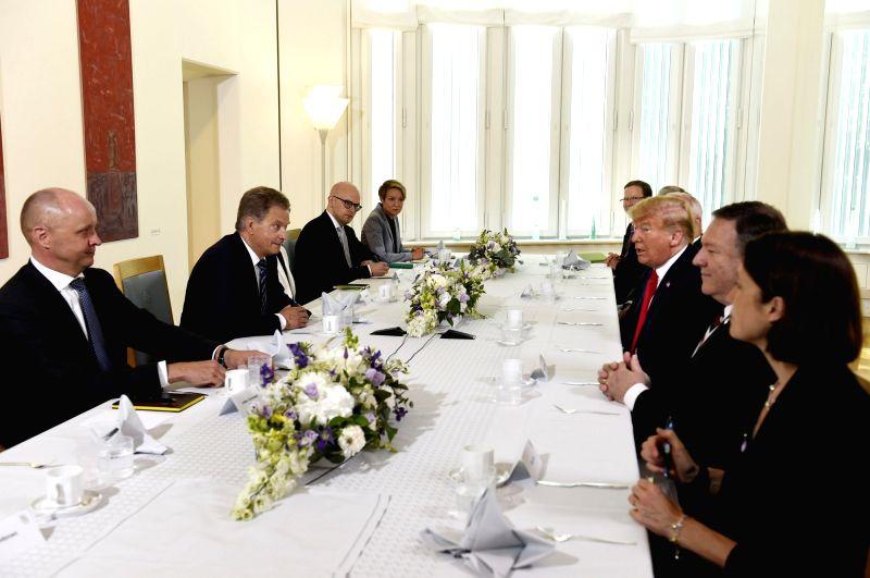 HELSINKI, July 16, 2018 - U.S. President Donald Trump (3rd R) meets with Finnish President Sauli Niinisto (2nd L) in Helsinki, Finland, on July 16, 2018.