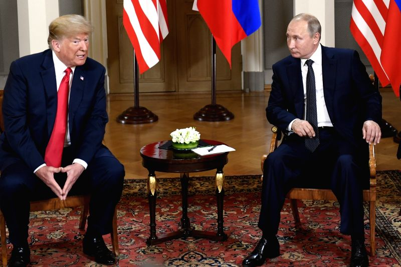 HELSINKI, July 16, 2018 - U.S. President Donald Trump (L) meets with his Russian counterpart Vladimir Putin in Helsinki, Finland, on July 16, 2018. U.S. President Donald Trump and his Russian ...