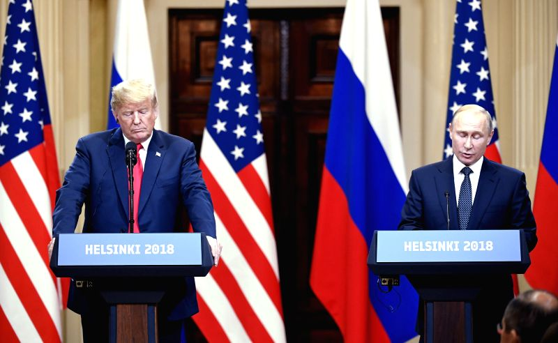 HELSINKI, July 16, 2018 - U.S. President Donald Trump (L) and Russian President Vladimir Putin attend a joint press conference in Helsinki, Finland, on July 16, 2018. Donald Trump and Vladimir Putin ...