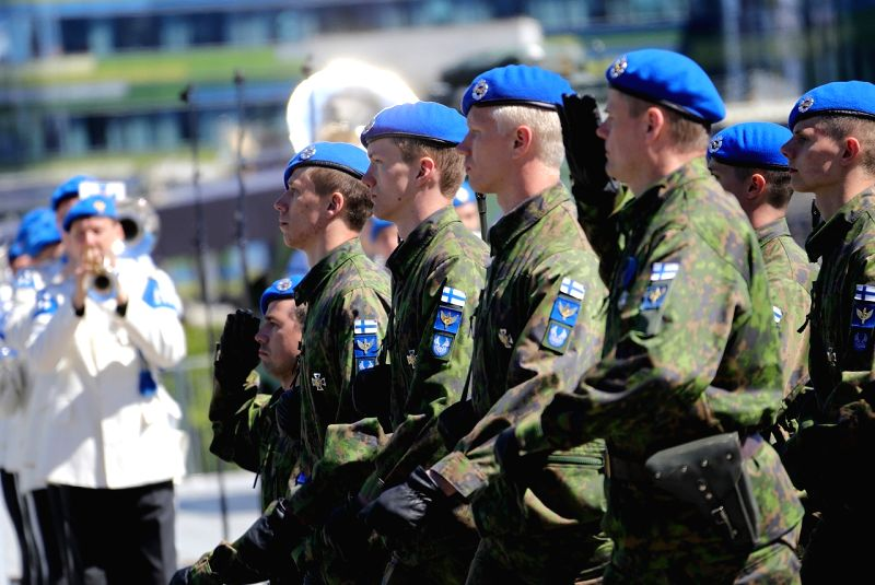 HELSINKI, June 5, 2017 - Finnish armored forces march in parade in central Helsinki, Finland, on June 4, 2017. The flag day of the Finnish Defence Forces was celebrated here on June 4 to memorize the ...