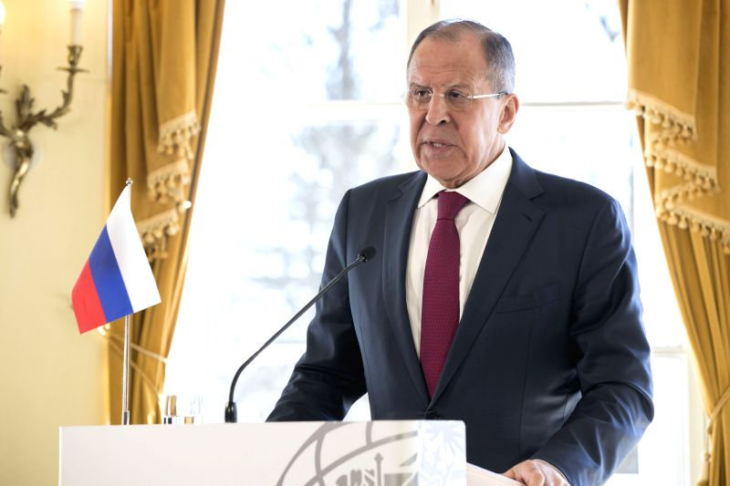 HELSINKI, May 5, 2017 - Russian Foreign Minister Sergei Lavrov speaks at a joint press conference with Finnish Foreign Minister Timo Soini (not in picture) in Porvoo, southern Finland, May 4, 2017. ... - Sergei Lavrov