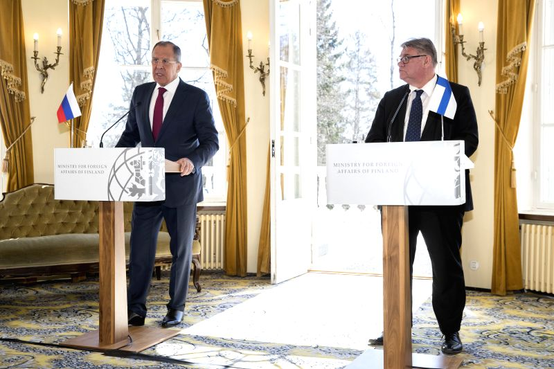 HELSINKI, May 5, 2017 - Russian Foreign Minister Sergei Lavrov (L) and Finnish Foreign Minister Timo Soini attend a joint press conference in Porvoo, southern Finland, May 4, 2017. Russian Foreign ... - Sergei Lavrov