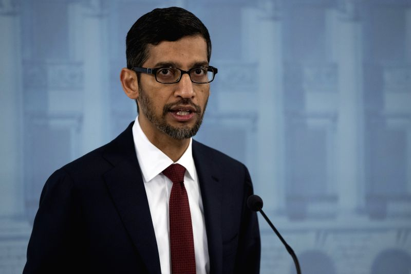 HELSINKI, Sept. 20, 2019 (Xinhua) -- Google CEO Sundar Pichai attends a joint press conference with Finnish Prime Minister Antti Rinne (not in the picture) in Helsinki, Finland, on Sept. 20, 2019. Google CEO Sundar Pichai said here on Friday that the