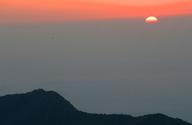 HENGSHAN, April 29, 2017 - Sunrise is seen at the Hengshan Mountain scenic area in Hengyang, central China's Hunan Province, April 29, 2017.
