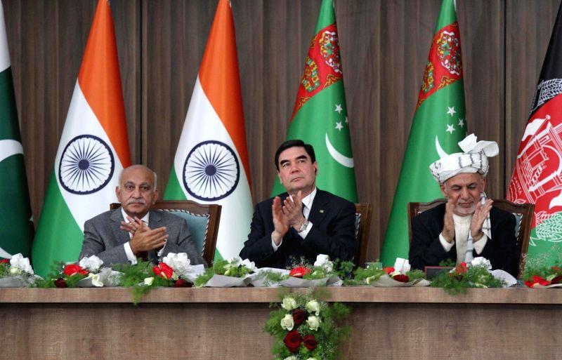 HERAT (AFGHANISTAN), Feb. 23, 2018 Afghan President Mohammad Ashraf Ghani (1st R), President of Turkmenistan Kurbanguly Berdymukhamedov (2nd R), Indian Minister of State for External ...