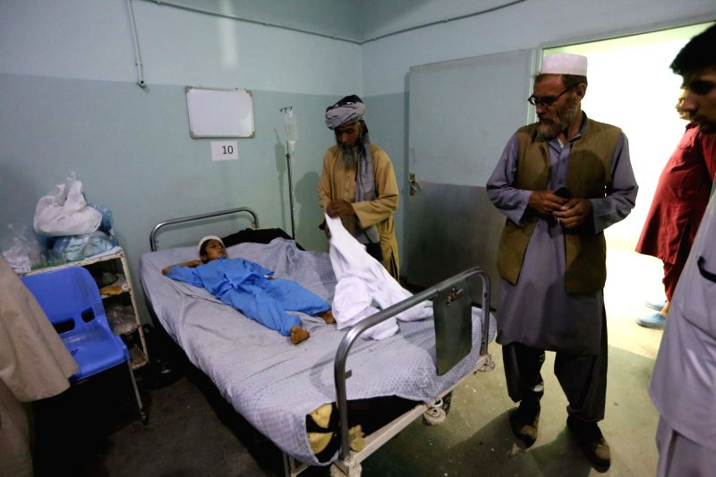 HERAT (AFGHANISTAN), May 26, 2017 An injured child is treated at Herat regional hospital in western Afghanistan, on May 26, 2017. Ten civilians were killed and six others wounded in an ...