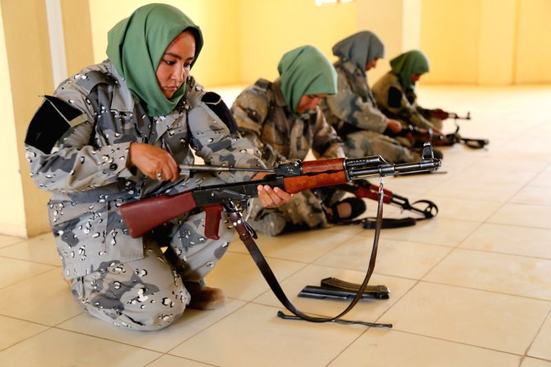 HERAT, July 30, 2016 - Afghan border policewomen take part in a military training at a training center in Herat province, Afghanistan, July 30, 2016. Afghan government has tried to increase the ...