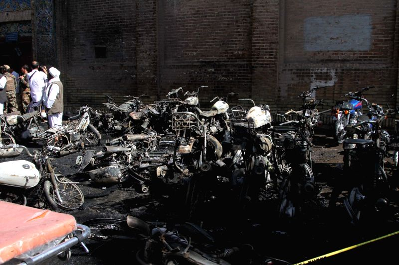HERAT, June 6, 2017 - Photo taken on June 6, 2017 shows some destroyed motorbikes at the blast site of Herat city, the capital of Herat, the western province of Afghanistan. Up to seven people have ...