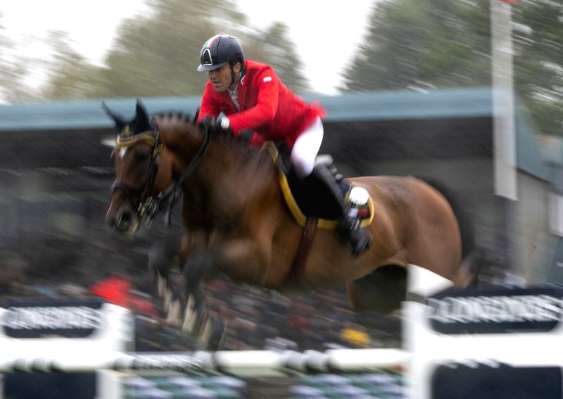HICKSTEAD(BRITAIN), July 30, 2018 Paolo Adamo Zuvadelli of Italy competes during the Longines FEI Jumping Nations Cup in Hickstead, Britain on July 29, 2018.
