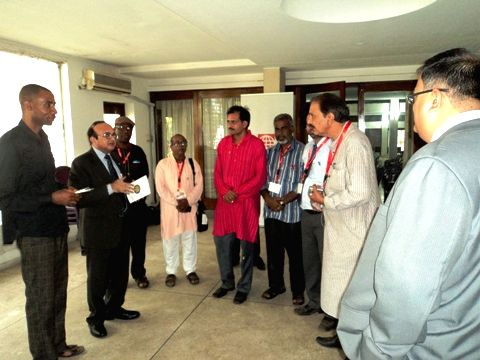 High Commissioner Mahesh Sachdev with Indian businessmen at the Lagos International Trade Fair