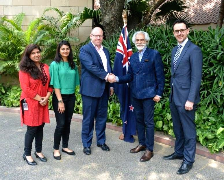High Commissioner of New Zealand to India Grahame Morton and FDCI President Sunil Sethi join hands to commence the fashion collaboration between India and New Zealand in New Delhi, on May ...
