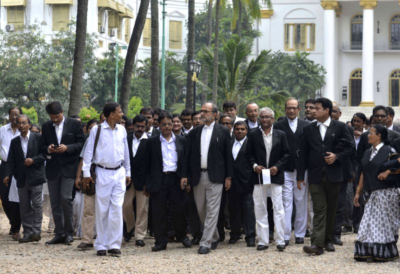 High Court (HC) lawyers leave after meeting West Bengal Governor KN Tripathi at Raj Bhavan in Kolkata on Sep 13, 2017.