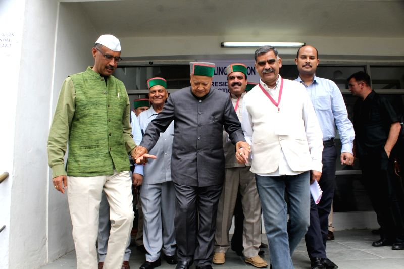 Himachal Chief Minister Virbhadra Singh comes out of state assembly after casting his vote during presidential polls in Shimla on July 17, 2017. - Virbhadra Singh