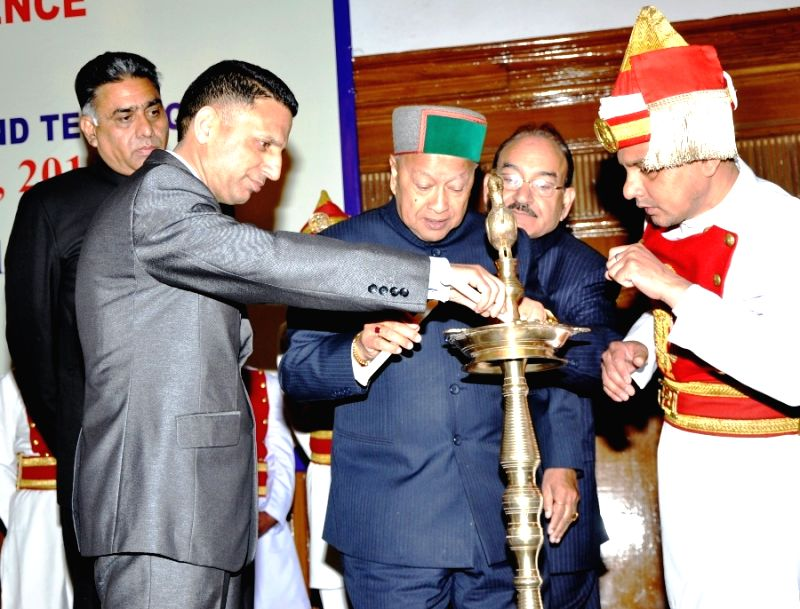 Himachal Pradesh Chief Minister Virbhadra Singh at the inauguration of three-day long regional judicial conference in Shimla, on April 24, 2015.