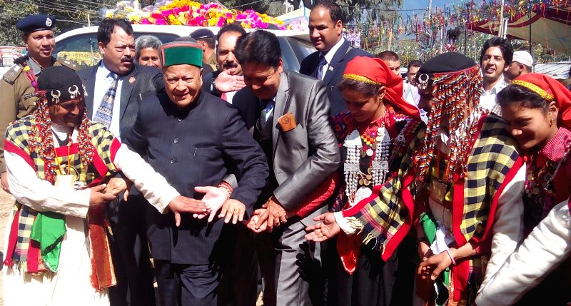 Himachal Pradesh Chief Minister Virbhadra Singh at Kullu Dussehra on Oct 27, 2015.