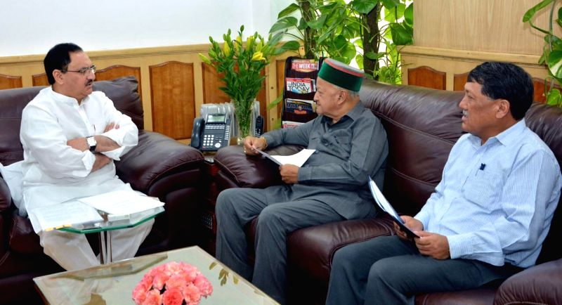 Himachal Pradesh Chief Minister Virbhadra Singh calls on Union Minister for Health and Family Welfare JP Nadda in New Delhi on Aug 10, 2016. - Virbhadra Singh