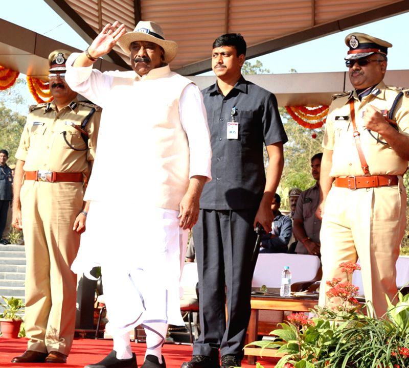 Himayat Sagar: Telangana Home Minister N. Narshimha Reddy reviews the Passing out parade of Women's Police Constable at Telangana Police Academy in Himayat Sagar near Hyderabad on Jan 31, 2018. - N. Narshimha Reddy